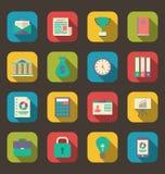 Iconos coloridos planos del negocio del web y de objetos financieros, de largo Fotos de archivo libres de regalías