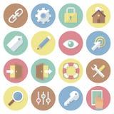 Iconos coloridos planos modernos del negocio del vector fijados Interfaz Aislado en el fondo blanco Imagen de archivo