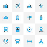 Iconos coloridos que viajan fijados Foto de archivo