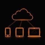 Iconos computacionales anaranjados de neón del vector Imágenes de archivo libres de regalías