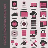 Iconos computacionales de la nube fijados stock de ilustración