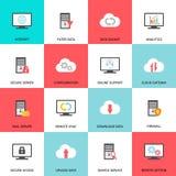 Iconos computacionales del recibimiento, del servidor, de la base de datos y de la nube Imagen de archivo