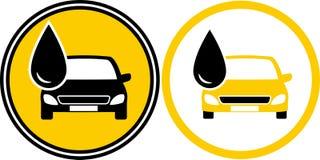 Iconos con el coche y el descenso de gasolina y aceite Imagen de archivo