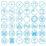 Iconos con estilo del plano y del alambre Foto de archivo