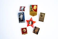 Iconos con la imagen de gran Lenin Imagenes de archivo