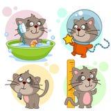 Iconos con la parte 3 de los gatos stock de ilustración