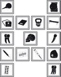 Iconos con las mercancías médicas Fotos de archivo libres de regalías