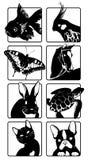 Iconos con las siluetas de animales stock de ilustración