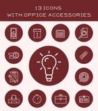 13 iconos con los accesorios de la oficina Imagenes de archivo