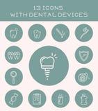 13 iconos con los dispositivos dentales Fotografía de archivo