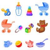 Iconos con los elementos del bebé Foto de archivo libre de regalías