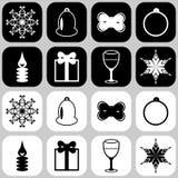 Iconos con los objetos del Año Nuevo Fotografía de archivo libre de regalías
