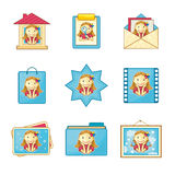 Iconos con Niza la muchacha libre illustration