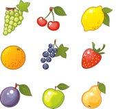 Iconos con sabor a fruta Imagenes de archivo