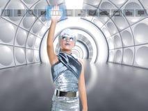 Iconos conmovedores de plata del dedo de la muchacha futurista del niño Foto de archivo libre de regalías