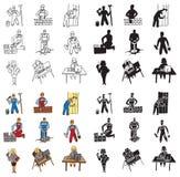 Iconos constructor y secretaria Imagen de archivo