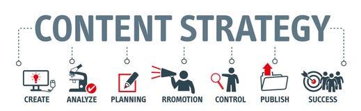 Iconos contentos de la carta del concepto de la estrategia en bandera stock de ilustración