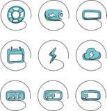 Iconos continuos del dibujo lineal - información de las conexiones stock de ilustración