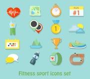 Iconos corrientes del deporte de la aptitud Sistema sano de la vida Fotografía de archivo libre de regalías