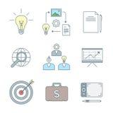 Iconos creativos coloreados del proceso de negocio del esquema fijados Fotos de archivo libres de regalías