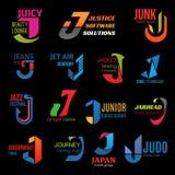 Iconos creativos corporativos del negocio del color de la identidad J stock de ilustración