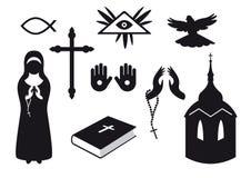Iconos cristianos blancos y negros stock de ilustración