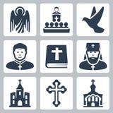 Iconos cristianos de la religión del vector Fotografía de archivo libre de regalías