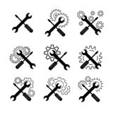 Iconos cruzados del vector del destornillador y del wrech ilustración del vector