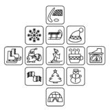 Iconos cuadrados blancos y negros del invierno stock de ilustración