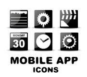 Iconos cuadrados brillantes negros del app del móvil Fotografía de archivo