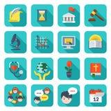 Iconos cuadrados de la escuela fijados Fotos de archivo libres de regalías