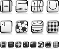 Iconos cuadrados del deporte fijados Fotos de archivo
