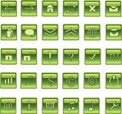 Iconos cuadrados verdes del Web de Lite, botones Foto de archivo libre de regalías