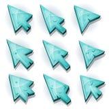 Iconos, cursor y flechas del hielo ilustración del vector