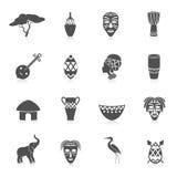 Iconos de África fijados stock de ilustración