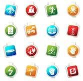 Iconos de alto voltaje fijados Foto de archivo