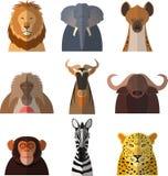 Iconos de animales africanos stock de ilustración