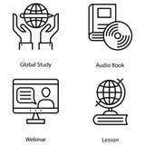 Iconos de aprendizaje virtuales stock de ilustración