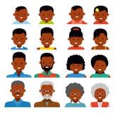 Iconos de Avatar plano Gente étnica afroamericana Generaciones de la gente en diversas edades libre illustration