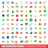 100 iconos de búsqueda fijados, estilo de la historieta Fotografía de archivo