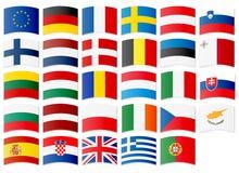 Iconos de banderas de la unión europea stock de ilustración