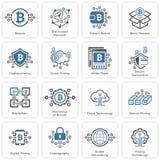 Iconos de Bitcoin y de Blockchain Cryptocurrency Imagen de archivo
