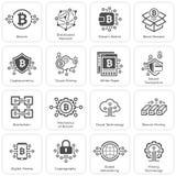 Iconos de Bitcoin y de Blockchain Cryptocurrency Foto de archivo libre de regalías