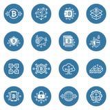 Iconos de Bitcoin y de Blockchain Cryptocurrency Fotos de archivo libres de regalías