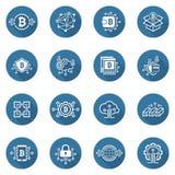 Iconos de Bitcoin y de Blockchain Cryptocurrency Imagenes de archivo