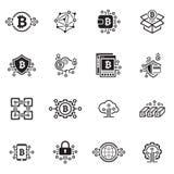 Iconos de Bitcoin y de Blockchain Cryptocurrency Imágenes de archivo libres de regalías