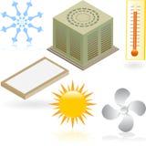 Iconos de calefacción y de enfriamiento stock de ilustración