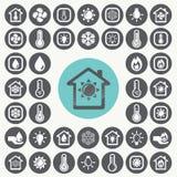 Iconos de calefacción y de enfriamiento fijados fotos de archivo libres de regalías