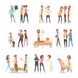 Iconos de Cartoon Characters Decorative de la enfermera Imagenes de archivo