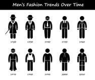 Iconos de Cliparts del desgaste de la ropa de la cronología de la tendencia de la moda del hombre Fotos de archivo